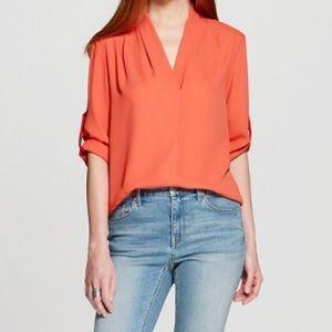 Tops - NEW Womens Convertible Sleeve Blouse Orange L
